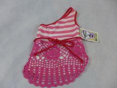 Dog Shirt Off The Shoulder Crouchet BottomWhite & Pink Medium New #Monkeydaze