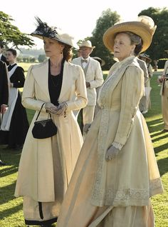 Samantha Bond as Lady Rosamund Painswick and Maggie Smith as Violet Crawley, Dowager Countess of Grantham in Downton Abbey (2010).