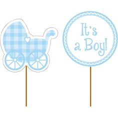 Its a Boy Gingham Cupcake Picks 12ct