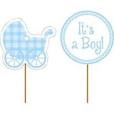 Its a Boy Gingham Cupcake Picks 12ct