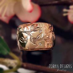 Bespoke Rose Gold Ring: wide band with hand engraved vine sprinkled with diamonds Zoran Designs Jewellery Hamilton ON