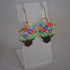 Peyote Stitch Basket of Flowers Earrings by ThoughtfulDog on Etsy, $16.00
