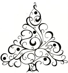 Christmas tree design for cards...  #Christmas #tree #drawing #cards #artnouveau