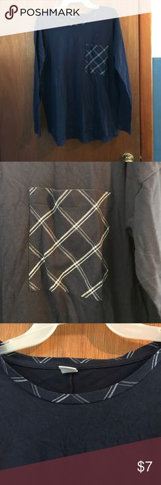 Basic blue shirt Long sleeve blue cotton shirt , plain pocket and neckline detailing Old Navy Tops Tees - Long Sleeve