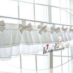 Morden bowknot cocina blanca tela de la cortina de encaje cortina café algodón…