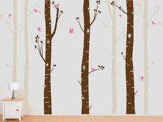 2 Color Birch Tree Wall Decal with Flying Birds by InAnInstantArt,