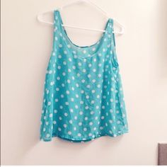 Polka dot top Light green and blue Tops