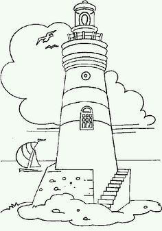Drawings of lighthouse. Pictures of lighthouse in the sea for coloring. Coloring Pages To Print, Coloring Book Pages, Colouring Sheets, Staircase Pictures, Lighthouse Painting, Lighthouse Sketch, Wood Burning Patterns, Stained Glass Patterns, Digi Stamps