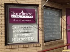 Home Instead Senior Care window graphics and lettering
