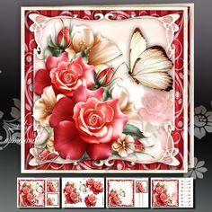 Red Roses with Lily Card Mini Kit: 4 sheets for print with decoupage for 3D effect plus few sentiment tags (for your own personal text)