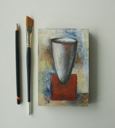 """Vase painting, Small painting, Modern art, Small original art, Small wall art, Mixed media and collage on wood, 6"""" x 4"""" art ready to hang Etsy Handmade, Handmade Gifts, Crow Painting, Original Artwork, Original Paintings, Bird Artwork, Small Paintings, Affordable Art, Art Online"""