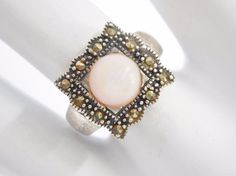 Vintage Sterling Silver Marcasite & Pink Mother Of Pearl Ring Sz 7.25  #1988