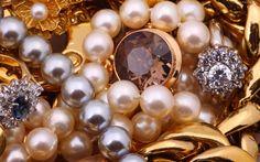 Perły, Perełki, Kamienie, Szlachetne, Złoto, Biżuteria