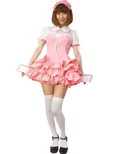 Pink White Short Sleeves Maid Costume