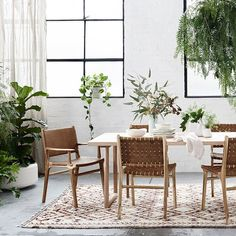 The Tanner dining chair is a classic. Woven leather on a blonde teak frame they are the perfect statement to any dining room. Available in white, grey or raw ta