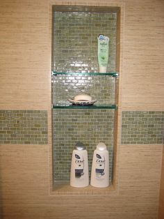 Small Bathrooms Design, Pictures, Remodel, Decor and Ideas - page 57...putting recessed shelving inside a small bathroom shower is necessary..for products