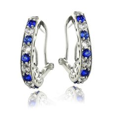 2.5ct Created Blue & White Sapphire Oval Clutchless Earrings