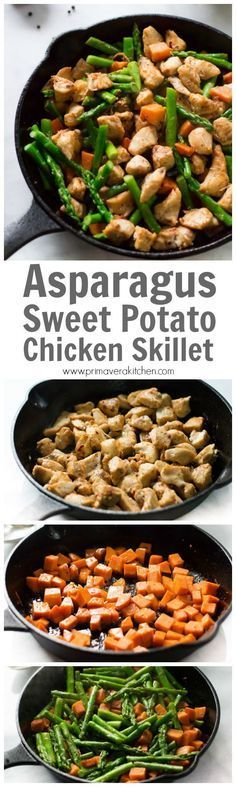 This Asparagus Sweet Potato Chicken Skillet recipe is a delicious healthy and easy to make meal that will be on your dinner table in less than 30 minutes. This is a gluten-free and paleo for your busy weeknight dinner.