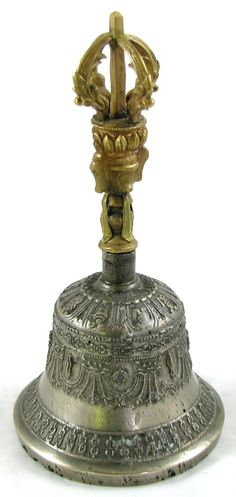 Buddhist Ritual HAND BELL Brass Drilbu Ghanta Ornate Asian Tibet Ceremonial