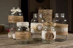 Set of 2 Small and 3 Large Mason Jar by ThePinkBunnyWeddings, $54.99