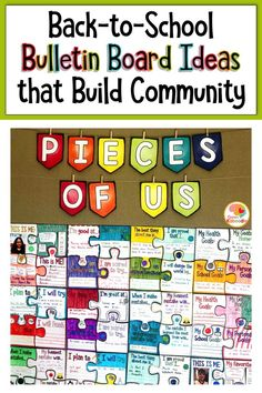 Looking for back-to-school bulletin board ideas?  These bulletin boards build community and show students that every class member is respected and accepted.  Use the puzzle bulletin board to create a positive classroom climate, the poster set for emphasizing acceptance and respect of individual differences, and the community building bulletin board for creating classroom agreements. Supporting social-emotional learning is easy with these back-to-school bulletin board ideas! #bulletinboardideas