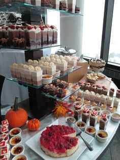 The Thanksgiving dessert buffet table at Aerie Restaurant.