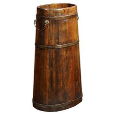 Vintage-style pine wood bucket  with wire trim and a weathered natural finish.  Product: BucketConstruction Material...