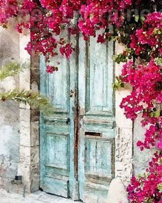 The Cottage Door: A Fine Art French Cottage Chic Watercolor Print, Home Decor for the French Inspired Home