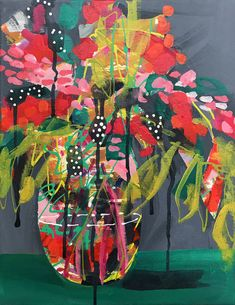 Items similar to Tropical Flower Painting Original Abstract Floral Art, Red and Pink Roses, Yellow and Green, Acrylic Canvas x by Amanda Evanston on Etsy Art Floral, Art Aquarelle, Arte Pop, Abstract Flowers, Botanical Art, Flower Art, Art Projects, Contemporary Art, Art Prints