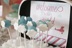 Welcome To The World Baby Shower! Cake pops by chocolata.ca Petits Plaisirs Chocolata Treats
