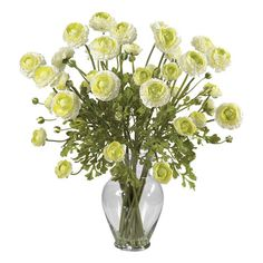 Add a lovely focal point to your entryway or dining room with this beautiful faux floral arrangement, showcasing a chic bouquet of cream ranunculus blossoms ...