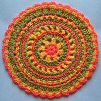 Crochet Mandala Wheels made by Aline, Northumberland, UK for yarndale.co.uk