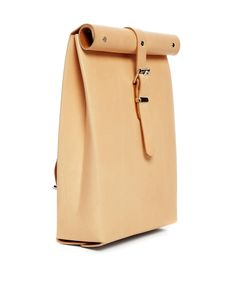 Image 2 of Chloe Stanyon Roll Top Leather Backpack in Natural