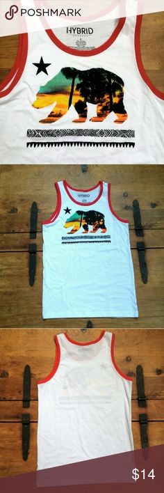 California Bear Flag Sunset Retro Tank Top Mens Small white tank top with cool retro look.   Excellend condition! Hybrid Shirts Tank Tops