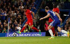 Chelsea 1 Liverpool 2: Liverpool's Dejan Lovren scores their first goal