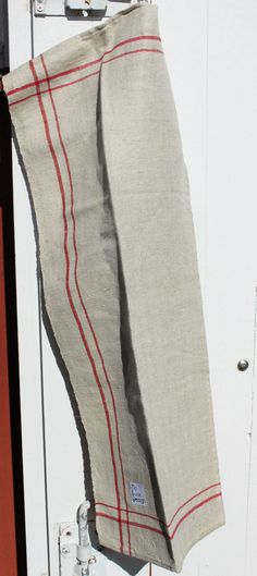 Towels in nice thick linen with red stripes by ReDesignandReCycled, kr76.00