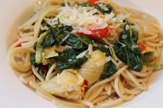 Linguine with Artichoke, Spinach, Anchovies and Fran's Roasted Red Peppers