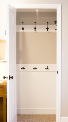 Maybe putting hooks into our entry closet would be a better use of space? I wonder if we could get 2 rows?