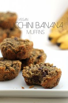 These deliciously moist, vegan, and gluten-free zucchini banana chocolate chip muffins are packed with flavor and nutrition! Banana Zucchini Muffins, Banana Chocolate Chip Muffins, Vegan Zucchini, Banana Bread, Zuchinni Recipes, Snack Recipes, Dessert Recipes, Cooking Recipes, Muffin Recipes