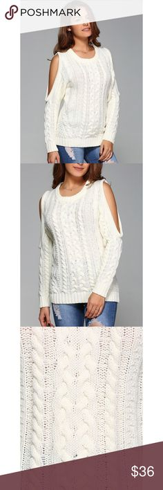 """Cold Shoulder Cable Knit Sweater Brand new, boutique off white, scoop neck cable knit sweater with cut out shoulder detailing. This sweater is perfect for the holidays. Can wear it casual or dress it up with a skirt and boots.   Small: 0-2. Bust 30.2"""" Medium: 4-6. Bust 31.5"""" Large: 8-10. Bust 33.1""""   Bundle and save! 💰10% off the purchase of 2 items 💰💰 15% off the purchase of 3+ items   ❓Questions? Please reach out and ask - I'm here to help 😊 Sweaters Crew & Scoop Necks"""