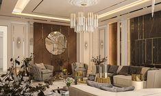 Reception with Neoclassic style on Behance Room Design Bedroom, Home Room Design, Girl Bedroom Designs, Living Room Designs, Classic Interior, Luxury Interior, Luxury Furniture, Interior Architecture, Living Roon
