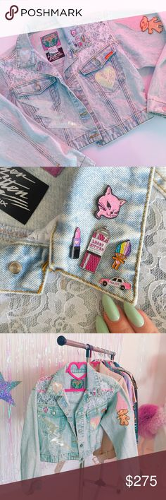 Vintage denim Jordache jacket w/ lace + patches One of a kind bedazzled vintage 90's patch jacket w/ pins by Laser Kitten Remix. Not Nasty Gal but we sell our pins/patches there and girls who like Nasty Gal will love our stuff too ❤️ featuring vintage sequin patches and pins! Amazing! Nasty Gal Jackets & Coats Jean Jackets