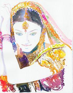 Original Watercolor Painting, Portrait Painting of Aishwarya, Indian Costume Illustration. Titled - Aishwarya