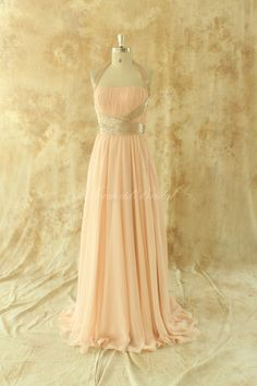Einfache Linie Lachs chiffon Brautjungfer Kleid, Ballkleid by MermaidBridal on Etsy