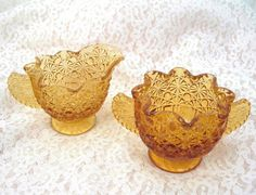Fenton Cream and Sugar Buttons and Dots Amber Glass Vintage