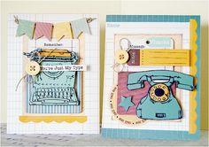 Fun retro card set from Designer @Kristen Swain using #GlueArts Adhesives and #Nikki Sivils products. gluearts.blogspot.com