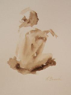 Nude Study Sepia Watercolor | Ingram Art & Antiques, Charleston, South Carolina