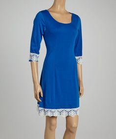 Look what I found on #zulily! Blue Lace Scoop Neck Dress #zulilyfinds