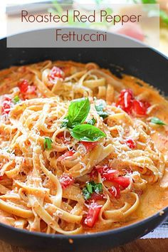 Roasted Red Pepper Fettuccini with Creamy Feta Sauce by Laughing Spatulas