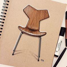 Arne Jacobsen's 1957 Grand Prix chair (originally known as the 3130 chair) produced by @fritz_hansen #arnejacobsen #grandprix #danish #denmark #fritzhansen #furniture #furnituredesign #chair #productdesign #industrialdesign #design #id #idsketching #sketch #sketchbook #drawing #art